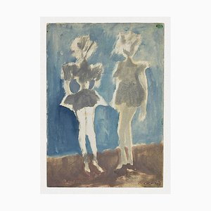 Mino Maccari - Figuren - Aquarell auf Papier - 1965