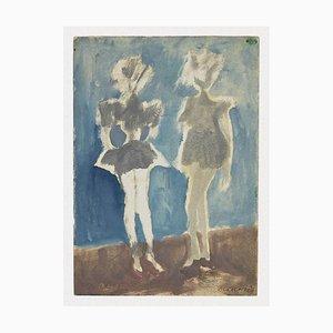 Mino Maccari - Figures - Watercolor On Paper - 1965