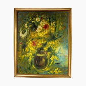 Tableau Vito Mirza - Mimosa and Field Flowers - Peinture à l'Huile Originale - 1989