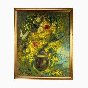 Vito Mirza - Mimosa and Field Flowers - Original Oil Painting - 1989