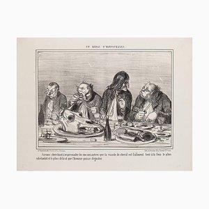 Honoré Daumier - Un Repas D'Hippophages - Lithographie - 1856