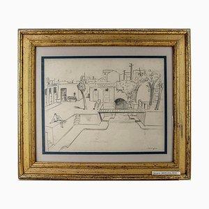 Cesare Breviglieri - Gorla Swimming Pool - Original Pencil Drawing - 1930s