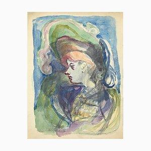 Mino Maccari - Porträt - Original Bleistift und Aquarell auf Papier - 1955