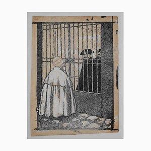Gabriele Galantara - the Pope and the Prison - Original China Ink - 1910