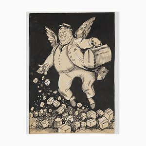 Gabriele Galantara - the Flying Postman - Original Ink and Watercolor - 1910s