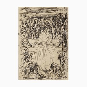 Giovanni D'aroma - Woman In A Landscape - Original Etching On Paper - 1940s