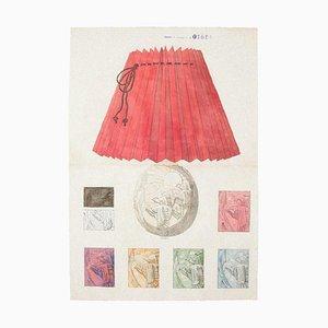 Inconnu - Lampe en Porcelaine - Aquarelle et Encre - 1890s