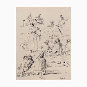 Eugene Berman - Die Reise nach Mexiko - Original Pen Drawing - 1947