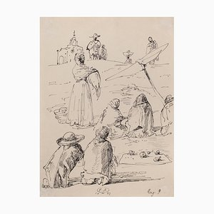 Eugene Berman - The Trip To Mexico - Original Pen Drawing - 1947