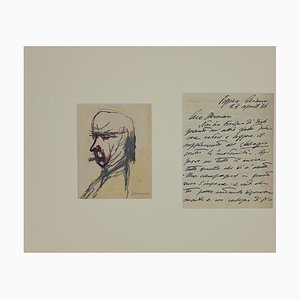 Mino Maccari - Ritratto di Soffici e Lettera a Mino Maccari - 1934