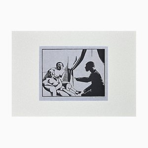 René Georges Hermann-Paul - The Visit - Original Woodcut Print On Paper - 1925