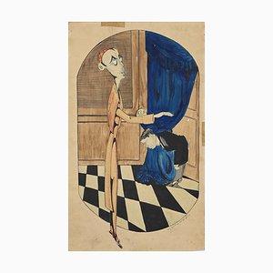 Inconnu - Politicien - Aquarelle et Encre - 1923