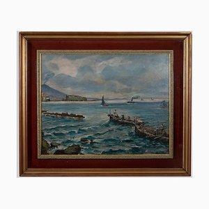 Peinture à l'Huile de Vincenzo Colucci - Bateaux à la Naples - Peinture à l'Huile - Milieu du 20ème Siècle