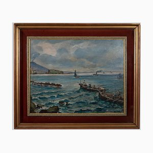 Vincenzo Colucci - Boats Fishing In the Naples - Oil Painting - Mid-20th Century