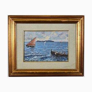 Unknown - View of Capri Island - Original Oil Painting on Cardboard - Mid-20th Century