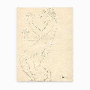 Georges-henri Tribout - Naked Man Standing - Dibujo original - principios del siglo XX
