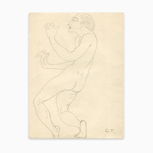 Georges-henri Tribout - Naked Man Standing - Original Drawing - Early 20th Century