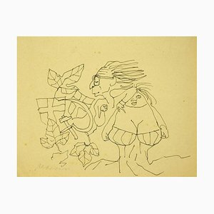 Mino Maccari - Couple - Pen On Paper - Mid-20th-Century