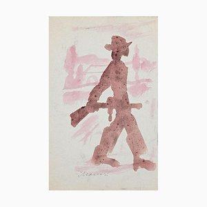 Mino Maccari - Partisan - Watercolor On Paper - 1965