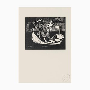 Mino Maccari - Boatman and Fish - Original Woodcut - Mid-20th Century