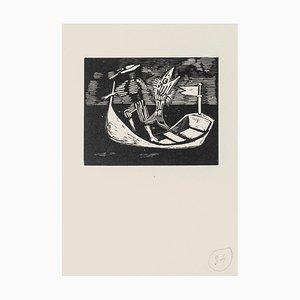 Mino Maccari - Bootmann und Fisch - Original Holzschnitt - Mitte des 20. Jahrhunderts
