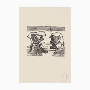 Mino Maccari - the Conversation - Original Woodcut On Paper - Mid-20th Century