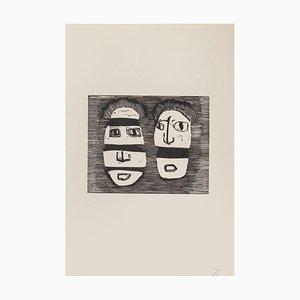 Mino Maccari - Masks - Original Woodcut On Paper - Mid-20th Century