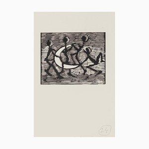 Mino Maccari - Figure con mezza luna - Incisione in legno originale - metà XX secolo