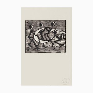Mino Maccari - Figures With Half-moon - Original Woodcut - Mid-20th Century