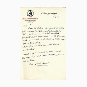 Carlo Carra - Carra's New Projects In Ny - Autograph Letter Signed - 1937