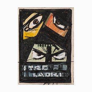 Gabriele Galantara - Three Robbers - Original Drawing - Early 20th Century