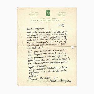 Valentino Bompiani - Confidential Letter by Bompiani - 1930s