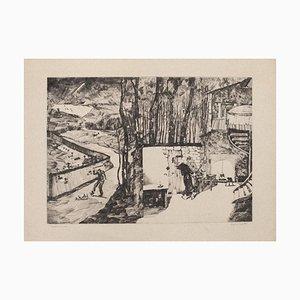 David Rouviere - Landscape - Original Etching On Paper - Mid-20th Century