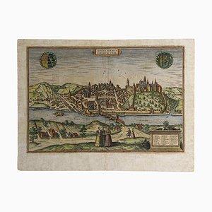 Acquaforte Franz Hogenberg - Mappa di Meissen - Incisione originale - Fine XVI secolo