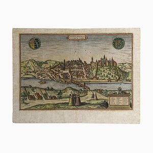 Franz Hogenberg - Map of Meissen - Original Etching - Late 16th Century