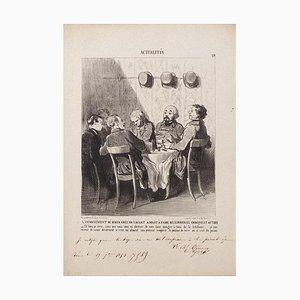 Honoré Daumier - the Diner Downside In A Savant- Original Lithograph - 1853