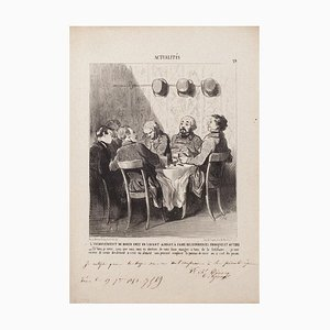 Honoré Daumier - The Diner Downside In A Savant - Originale Lithographie - 1853