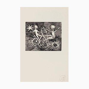 Mino Maccari - Dreamy - Woodcut On Paper - Mid-20th-Century