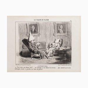 Honoré Daumier - Le Retour à Paris - Lithograph - 1852