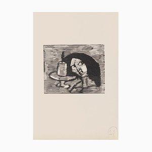 Mino Maccari, The Portrait, Holzschnitt auf Papier, Mitte 20. Jahrhundert