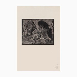Mino Maccari, The Conversation, Woodcut on Paper, Mid-20th Century