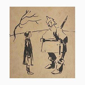 Gabriele Galantara, The Austrian and the Girl, Drawing, 1910s