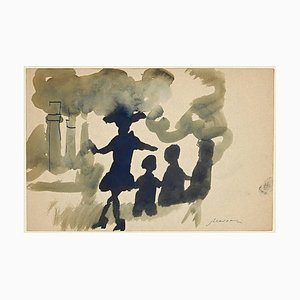 Mino Maccari, The Pollution, Ink and Watercolor, 1960s