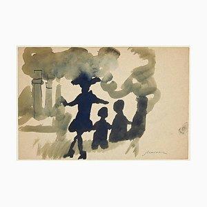 Mino Maccari, The Pollution, Tusche & Aquarell, 1960er
