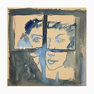 Mino Maccari, The Prisoner, Watercolor, Mid-20th Century