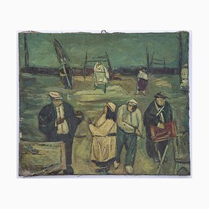 Ivan Mosca, At the Beach, Oil Painting on Canvas, 1950s