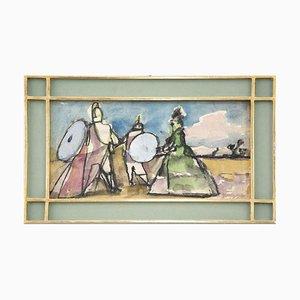 Mino Maccari, Colored Figures, Watercolor, 1970s