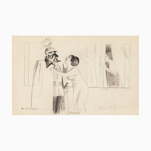 Maurice Lourdey, Theatrical Scene, Pencil on Paper, 20th Century