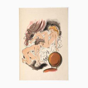 Mariette Lydis, Erotic Scene, Hand-Colored Lithograph, 1939