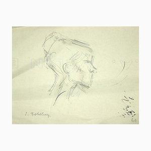 Simon Goldberg, Portrait, Dessin au Crayon, Moyen-20ème Siècle